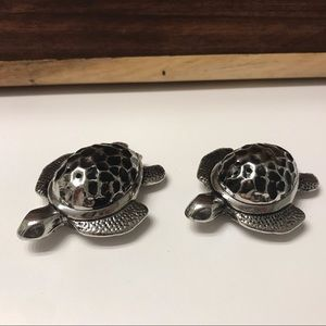 Vintage Heavy Silver Turtle Salt & Pepper Shakers